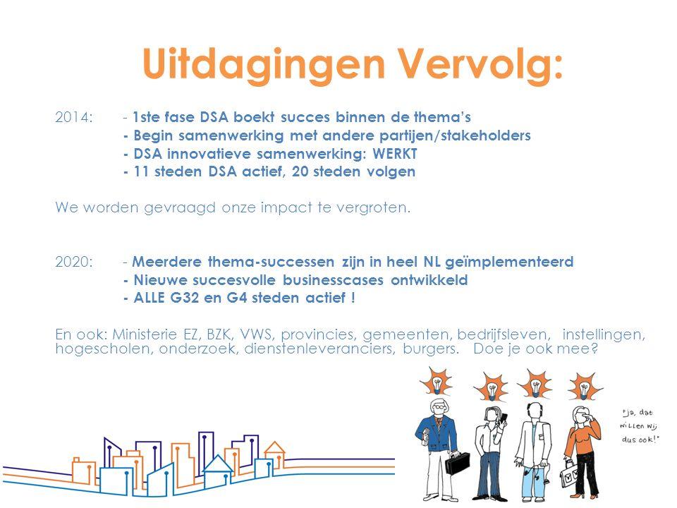 6 Uitdagingen Vervolg: 2014: - 1ste fase DSA boekt succes binnen de thema's - Begin samenwerking met andere partijen/stakeholders - DSA innovatieve sa