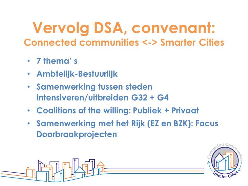 Vervolg DSA, convenant: Connected communities Smarter Cities 7 thema' s Ambtelijk-Bestuurlijk Samenwerking tussen steden intensiveren/uitbreiden G32 +