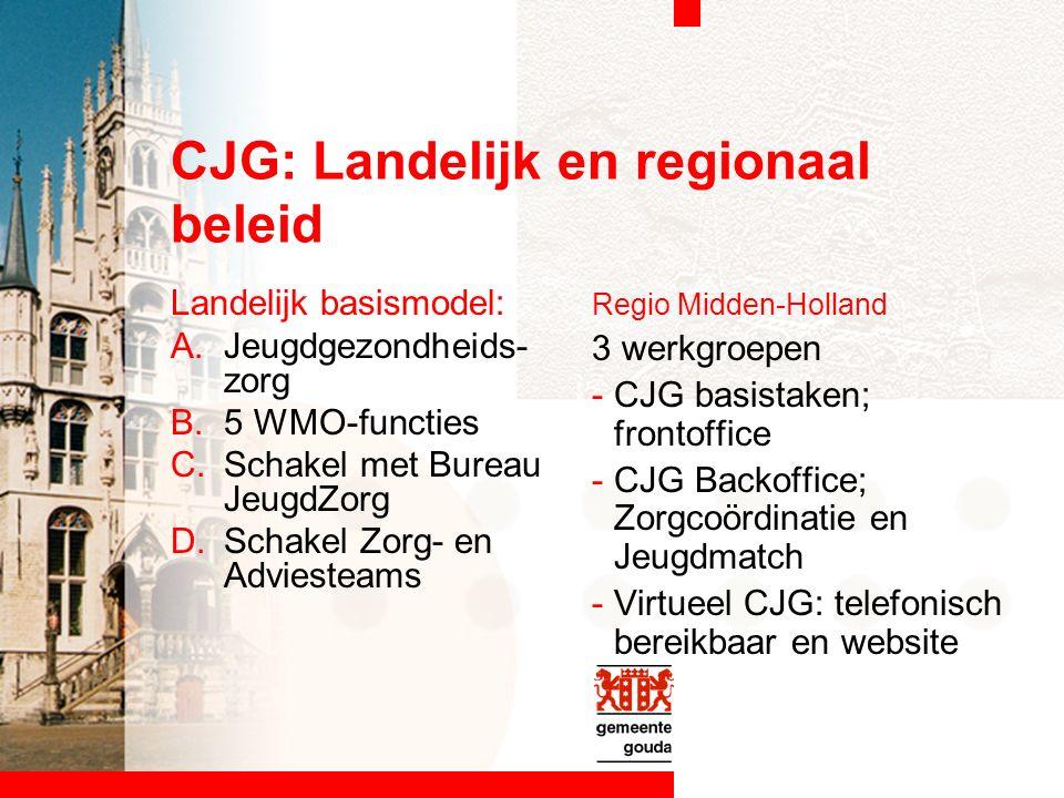 CJG: Landelijk en regionaal beleid Landelijk basismodel: A.Jeugdgezondheids- zorg B.5 WMO-functies C.Schakel met Bureau JeugdZorg D.Schakel Zorg- en Adviesteams Regio Midden-Holland 3 werkgroepen -CJG basistaken; frontoffice -CJG Backoffice; Zorgcoördinatie en Jeugdmatch -Virtueel CJG: telefonisch bereikbaar en website