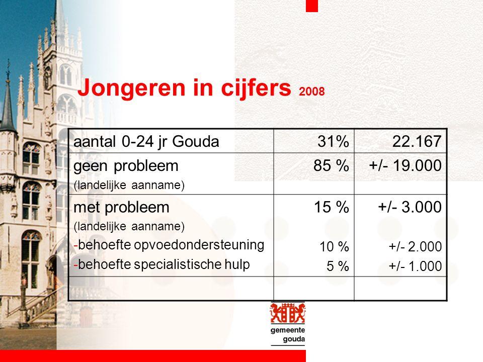 Jongeren in cijfers 2008 aantal 0-24 jr Gouda31%22.167 geen probleem (landelijke aanname) 85 %+/- 19.000 met probleem (landelijke aanname) -behoefte opvoedondersteuning -behoefte specialistische hulp 15 % 10 % 5 % +/- 3.000 +/- 2.000 +/- 1.000