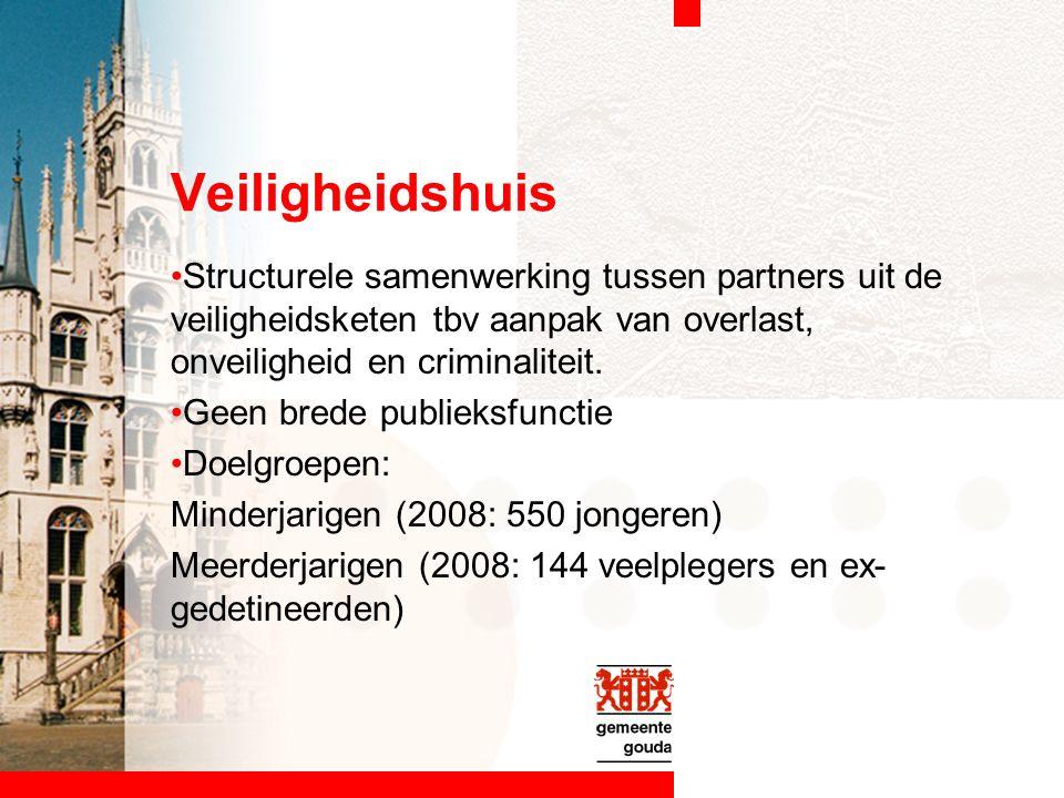 Veiligheidshuis Structurele samenwerking tussen partners uit de veiligheidsketen tbv aanpak van overlast, onveiligheid en criminaliteit.