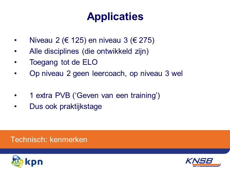Technisch: kenmerken Applicaties Niveau 2 (€ 125) en niveau 3 (€ 275) Alle disciplines (die ontwikkeld zijn) Toegang tot de ELO Op niveau 2 geen leercoach, op niveau 3 wel 1 extra PVB ('Geven van een training') Dus ook praktijkstage