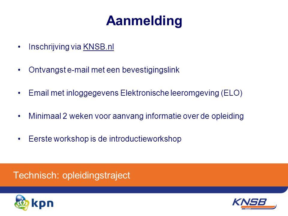 Aanmelding Inschrijving via KNSB.nl Ontvangst e-mail met een bevestigingslink Email met inloggegevens Elektronische leeromgeving (ELO) Minimaal 2 weken voor aanvang informatie over de opleiding Eerste workshop is de introductieworkshop