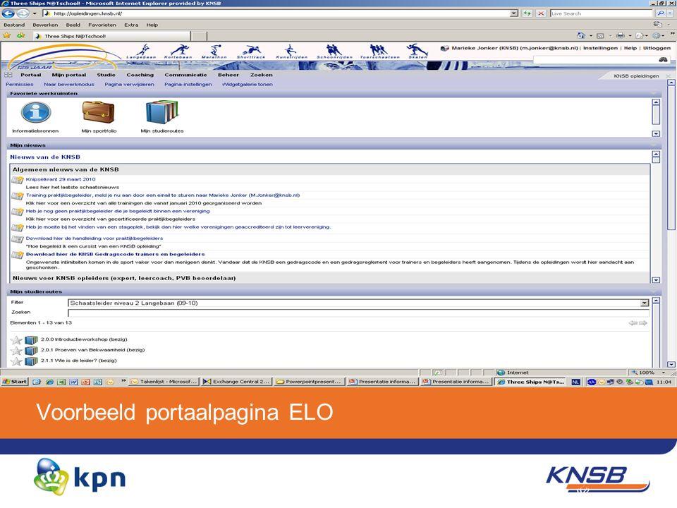 Voorbeeld portaalpagina ELO