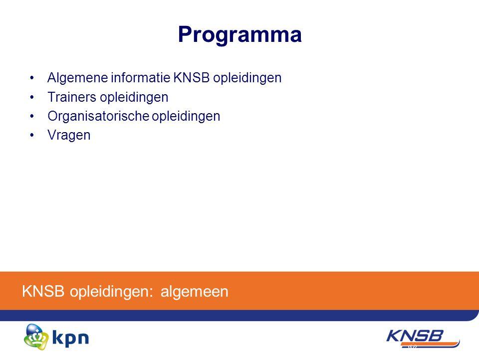KNSB opleidingen: algemeen Programma Algemene informatie KNSB opleidingen Trainers opleidingen Organisatorische opleidingen Vragen