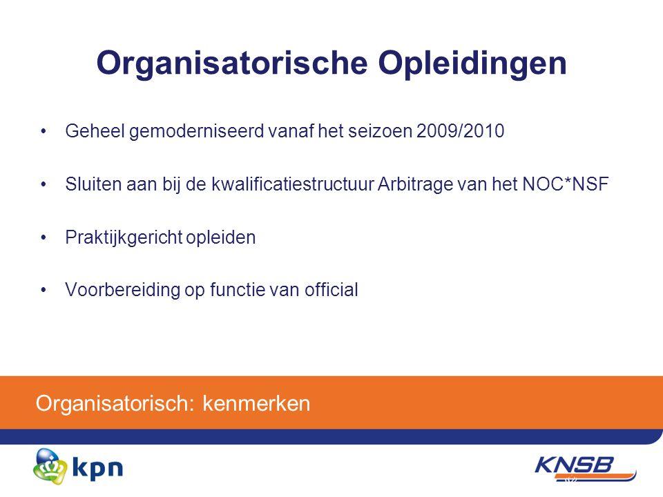 Organisatorisch: kenmerken Organisatorische Opleidingen Geheel gemoderniseerd vanaf het seizoen 2009/2010 Sluiten aan bij de kwalificatiestructuur Arbitrage van het NOC*NSF Praktijkgericht opleiden Voorbereiding op functie van official