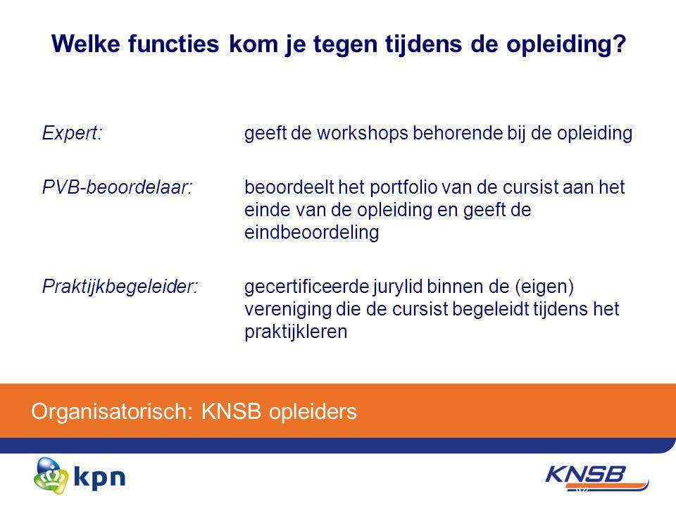 Organisatorisch: KNSB opleiders Welke functies kom je tegen tijdens de opleiding.
