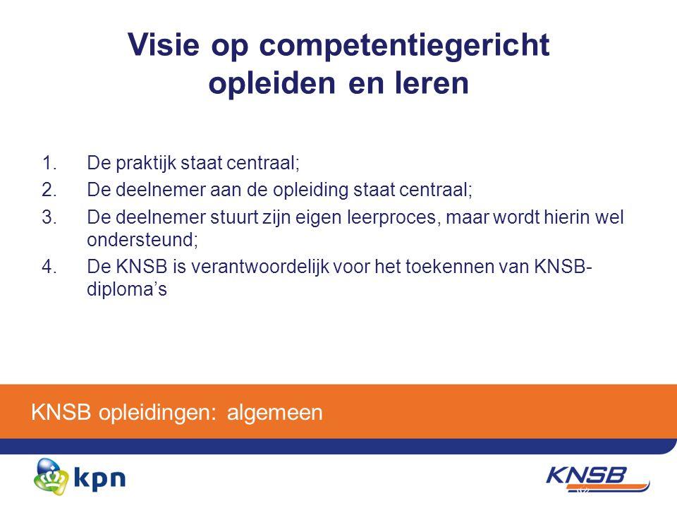 KNSB opleidingen: algemeen Visie op competentiegericht opleiden en leren 1.De praktijk staat centraal; 2.De deelnemer aan de opleiding staat centraal; 3.De deelnemer stuurt zijn eigen leerproces, maar wordt hierin wel ondersteund; 4.De KNSB is verantwoordelijk voor het toekennen van KNSB- diploma's