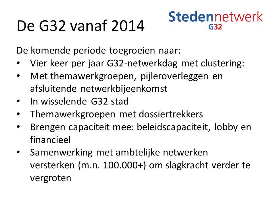 De G32 vanaf 2014 De komende periode toegroeien naar: Vier keer per jaar G32-netwerkdag met clustering: Met themawerkgroepen, pijleroverleggen en afsluitende netwerkbijeenkomst In wisselende G32 stad Themawerkgroepen met dossiertrekkers Brengen capaciteit mee: beleidscapaciteit, lobby en financieel Samenwerking met ambtelijke netwerken versterken (m.n.