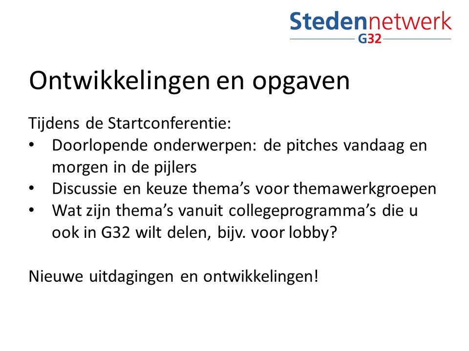 Ontwikkelingen en opgaven Tijdens de Startconferentie: Doorlopende onderwerpen: de pitches vandaag en morgen in de pijlers Discussie en keuze thema's