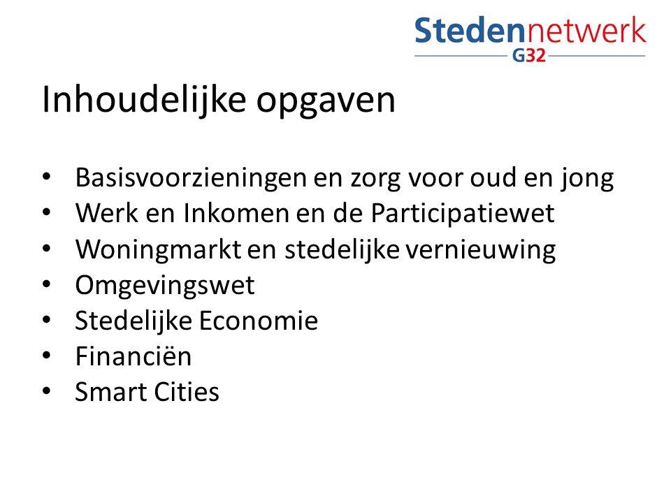 Inhoudelijke opgaven Basisvoorzieningen en zorg voor oud en jong Werk en Inkomen en de Participatiewet Woningmarkt en stedelijke vernieuwing Omgevingswet Stedelijke Economie Financiën Smart Cities