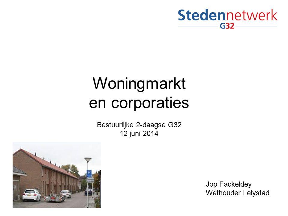 Woningmarkt en corporaties Bestuurlijke 2-daagse G32 12 juni 2014 Jop Fackeldey Wethouder Lelystad
