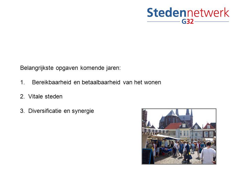 Belangrijkste opgaven komende jaren: 1.Bereikbaarheid en betaalbaarheid van het wonen 2. Vitale steden 3. Diversificatie en synergie