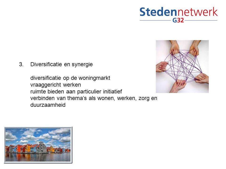 3.Diversificatie en synergie diversificatie op de woningmarkt vraaggericht werken ruimte bieden aan particulier initiatief verbinden van thema's als wonen, werken, zorg en duurzaamheid
