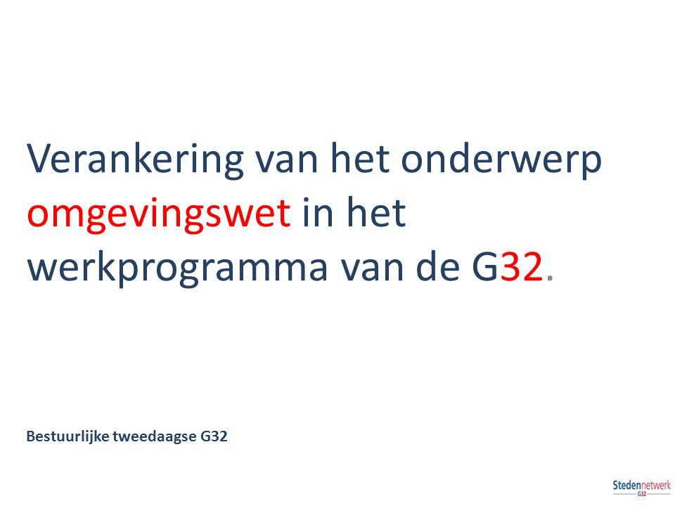 Verankering van het onderwerp omgevingswet in het werkprogramma van de G32. Bestuurlijke tweedaagse G32