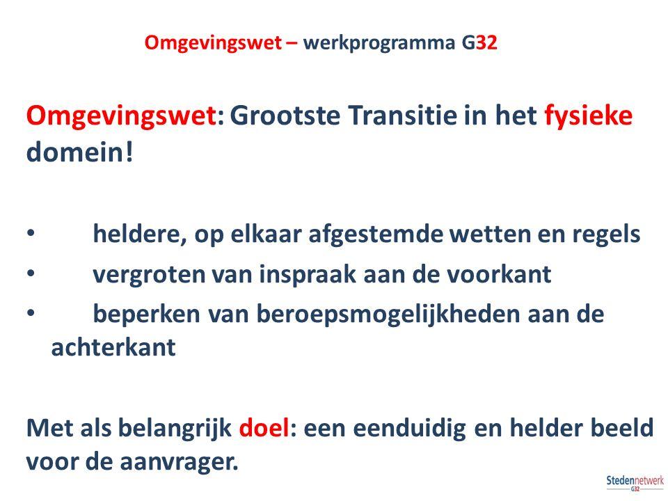 Omgevingswet – werkprogramma G32 Omgevingswet: Grootste Transitie in het fysieke domein! heldere, op elkaar afgestemde wetten en regels vergroten van