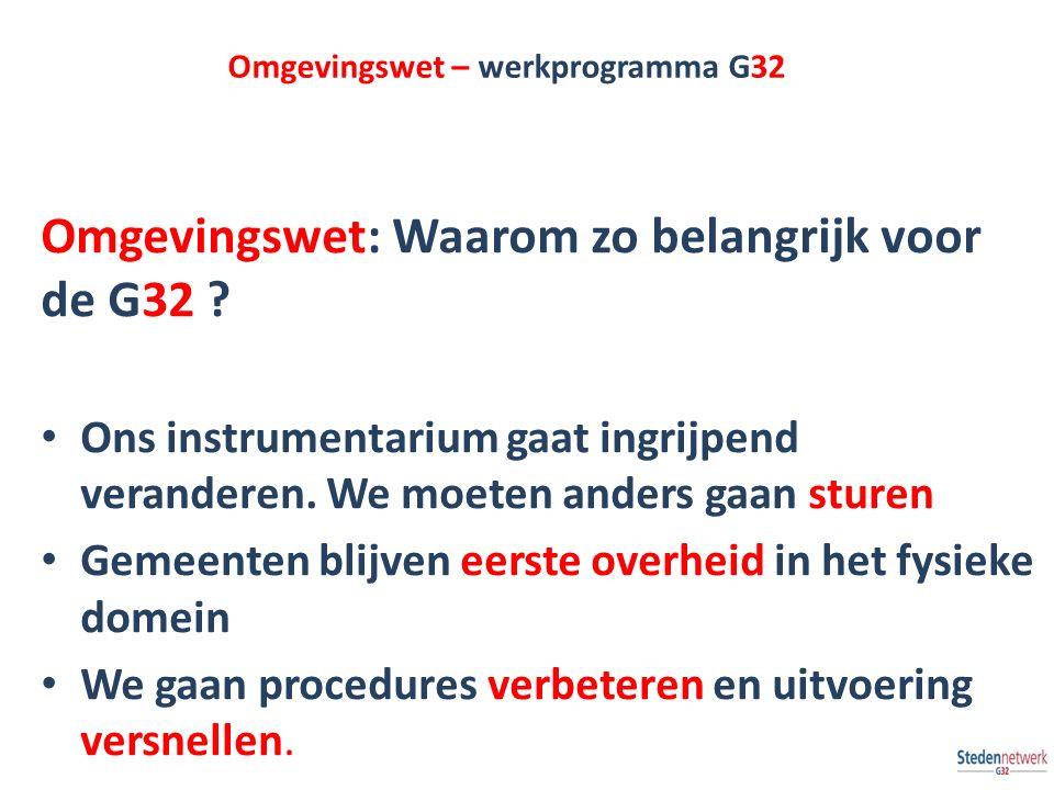Omgevingswet – werkprogramma G32 Omgevingswet: Waarom zo belangrijk voor de G32 ? Ons instrumentarium gaat ingrijpend veranderen. We moeten anders gaa