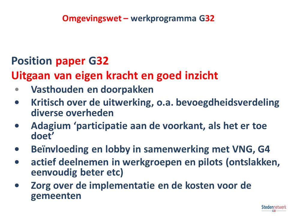 Omgevingswet – werkprogramma G32 Position paper G32 Uitgaan van eigen kracht en goed inzicht Vasthouden en doorpakken Kritisch over de uitwerking, o.a.