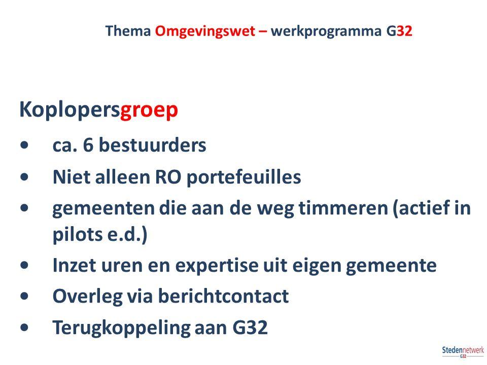 Thema Omgevingswet – werkprogramma G32 Koplopersgroep ca. 6 bestuurders Niet alleen RO portefeuilles gemeenten die aan de weg timmeren (actief in pilo