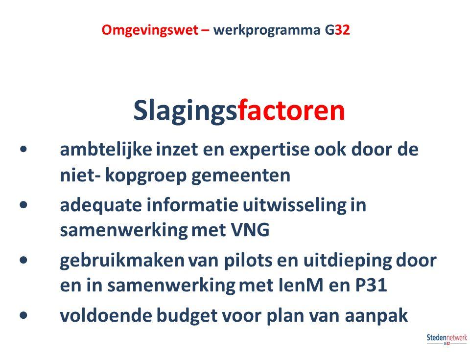 Omgevingswet – werkprogramma G32 Slagingsfactoren ambtelijke inzet en expertise ook door de niet- kopgroep gemeenten adequate informatie uitwisseling in samenwerking met VNG gebruikmaken van pilots en uitdieping door en in samenwerking met IenM en P31 voldoende budget voor plan van aanpak