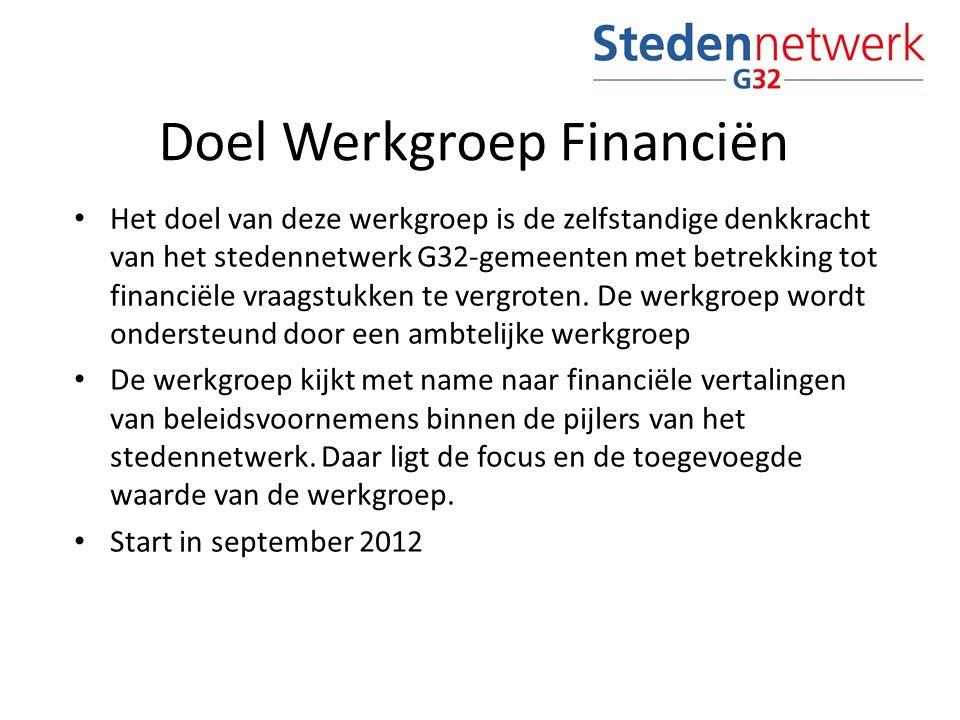 Doel Werkgroep Financiën Het doel van deze werkgroep is de zelfstandige denkkracht van het stedennetwerk G32-gemeenten met betrekking tot financiële vraagstukken te vergroten.