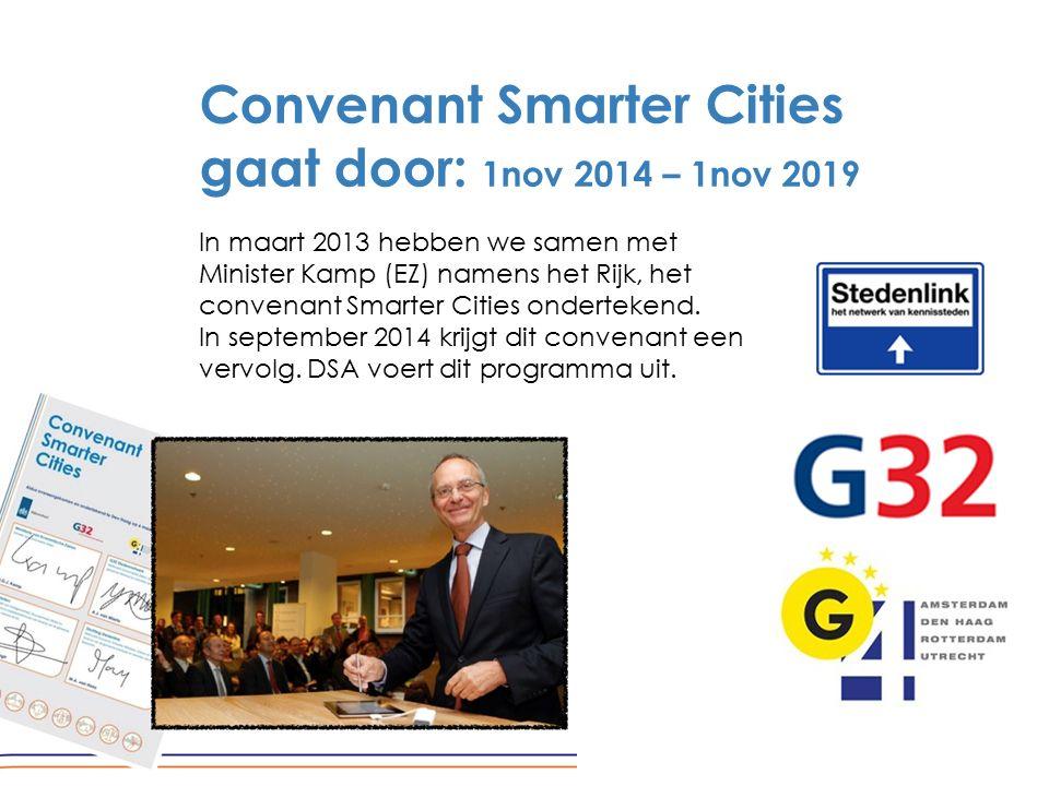 Convenant Smarter Cities gaat door: 1nov 2014 – 1nov 2019 In maart 2013 hebben we samen met Minister Kamp (EZ) namens het Rijk, het convenant Smarter Cities ondertekend.