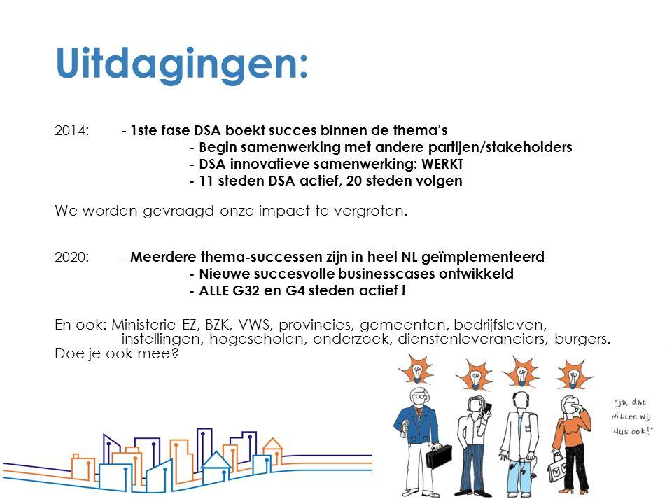 67 Uitdagingen: 2014: - 1ste fase DSA boekt succes binnen de thema's - Begin samenwerking met andere partijen/stakeholders - DSA innovatieve samenwerk