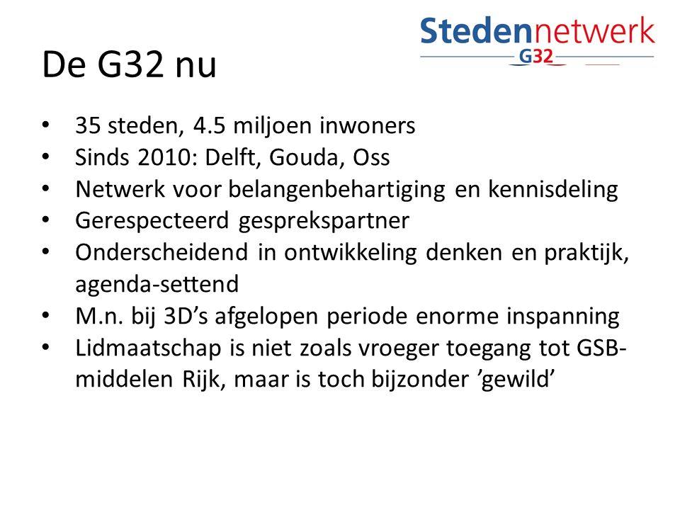 De G32 nu 35 steden, 4.5 miljoen inwoners Sinds 2010: Delft, Gouda, Oss Netwerk voor belangenbehartiging en kennisdeling Gerespecteerd gesprekspartner Onderscheidend in ontwikkeling denken en praktijk, agenda-settend M.n.