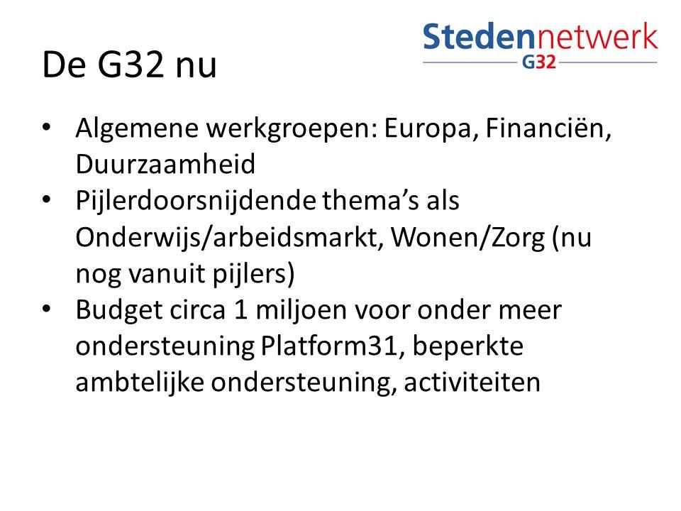 De G32 nu Algemene werkgroepen: Europa, Financiën, Duurzaamheid Pijlerdoorsnijdende thema's als Onderwijs/arbeidsmarkt, Wonen/Zorg (nu nog vanuit pijlers) Budget circa 1 miljoen voor onder meer ondersteuning Platform31, beperkte ambtelijke ondersteuning, activiteiten
