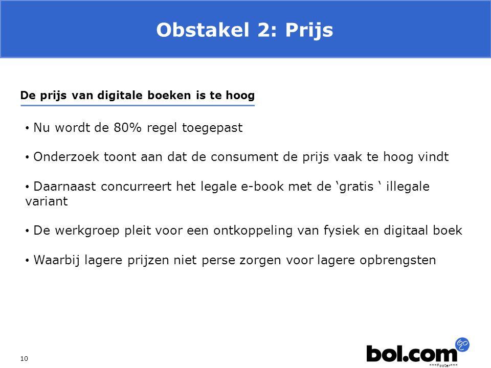 ***Footer*** Obstakel 2: Prijs 10 De prijs van digitale boeken is te hoog Nu wordt de 80% regel toegepast Onderzoek toont aan dat de consument de prij