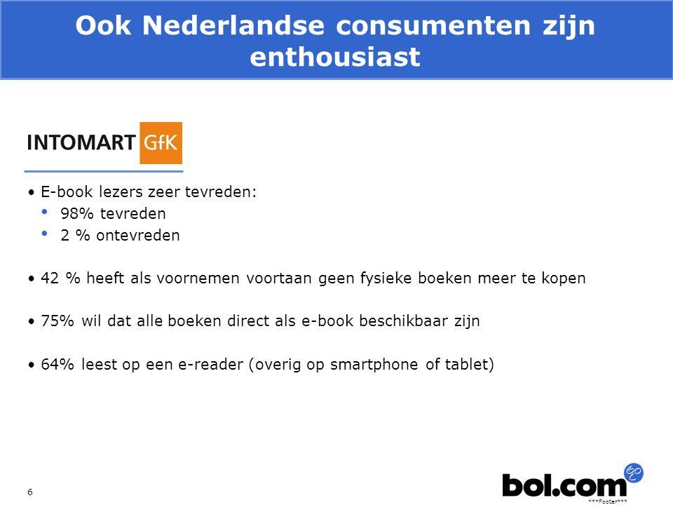 ***Footer*** Ook Nederlandse consumenten zijn enthousiast 6 E-book lezers zeer tevreden: 98% tevreden 2 % ontevreden 42 % heeft als voornemen voortaan