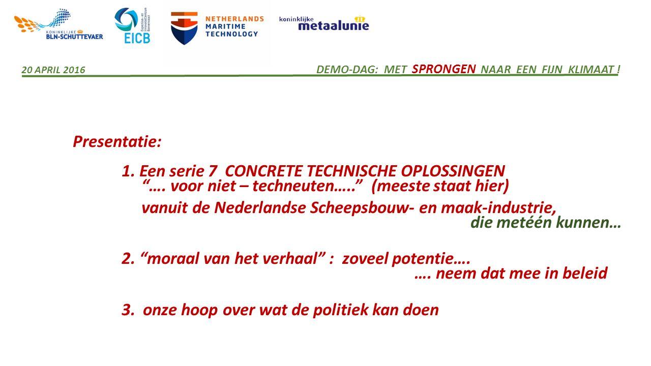 """Presentatie: 1. Een serie 7 CONCRETE TECHNISCHE OPLOSSINGEN """"…. voor niet – techneuten….."""" (meeste staat hier) vanuit de Nederlandse Scheepsbouw- en m"""