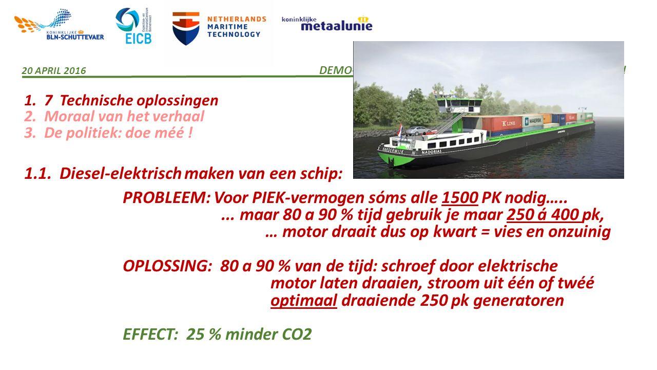 1. 7 Technische oplossingen 2. Moraal van het verhaal 3. De politiek: doe méé ! FOTO NADORIAS 1.1. Diesel-elektrisch maken van een schip: PROBLEEM: Vo