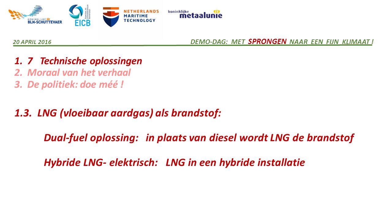 1. 7 Technische oplossingen 2. Moraal van het verhaal 3. De politiek: doe méé ! 1.3. LNG (vloeibaar aardgas) als brandstof: Dual-fuel oplossing: in pl