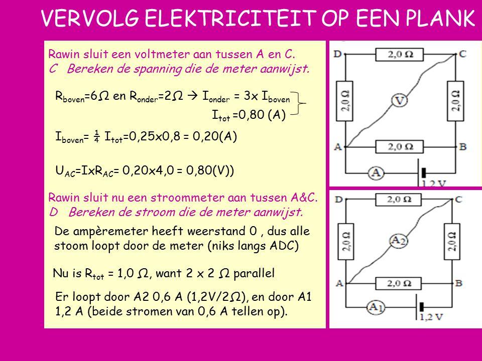 e Rawin sluit een voltmeter aan tussen A en C. C Bereken de spanning die de meter aanwijst. Rawin sluit nu een stroommeter aan tussen A&C. D Bereken d