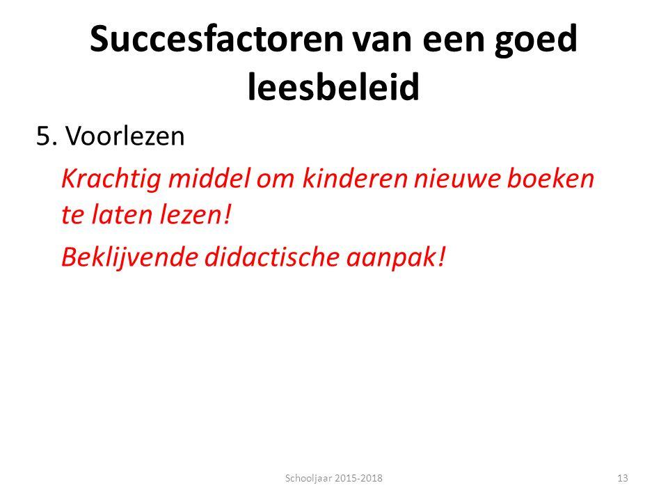 Succesfactoren van een goed leesbeleid 5.