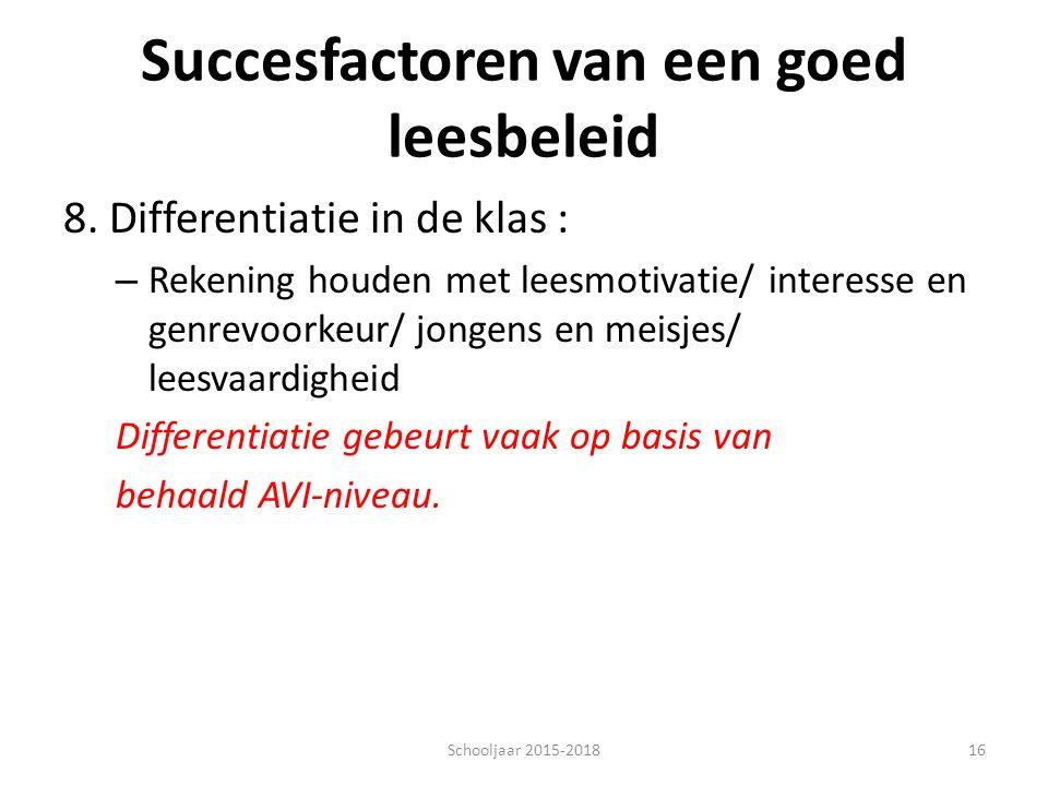 Succesfactoren van een goed leesbeleid 8. Differentiatie in de klas : – Rekening houden met leesmotivatie/ interesse en genrevoorkeur/ jongens en meis