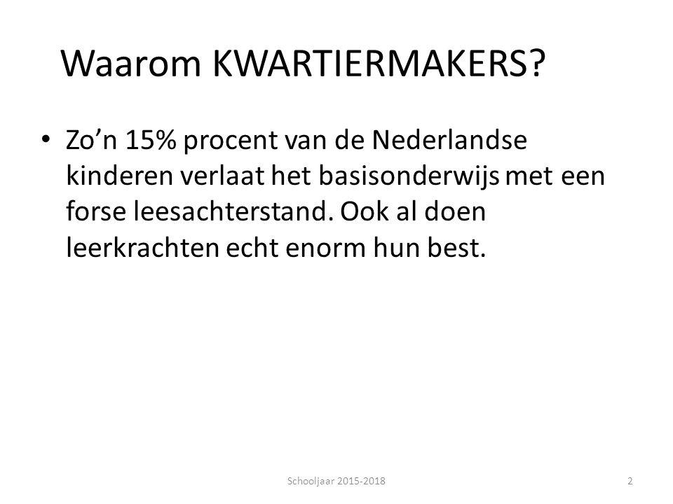 Waarom KWARTIERMAKERS? Zo'n 15% procent van de Nederlandse kinderen verlaat het basisonderwijs met een forse leesachterstand. Ook al doen leerkrachten