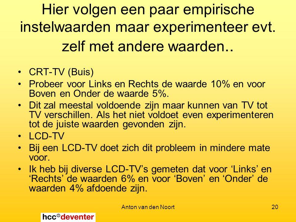 Anton van den Noort20 Hier volgen een paar empirische instelwaarden maar experimenteer evt.