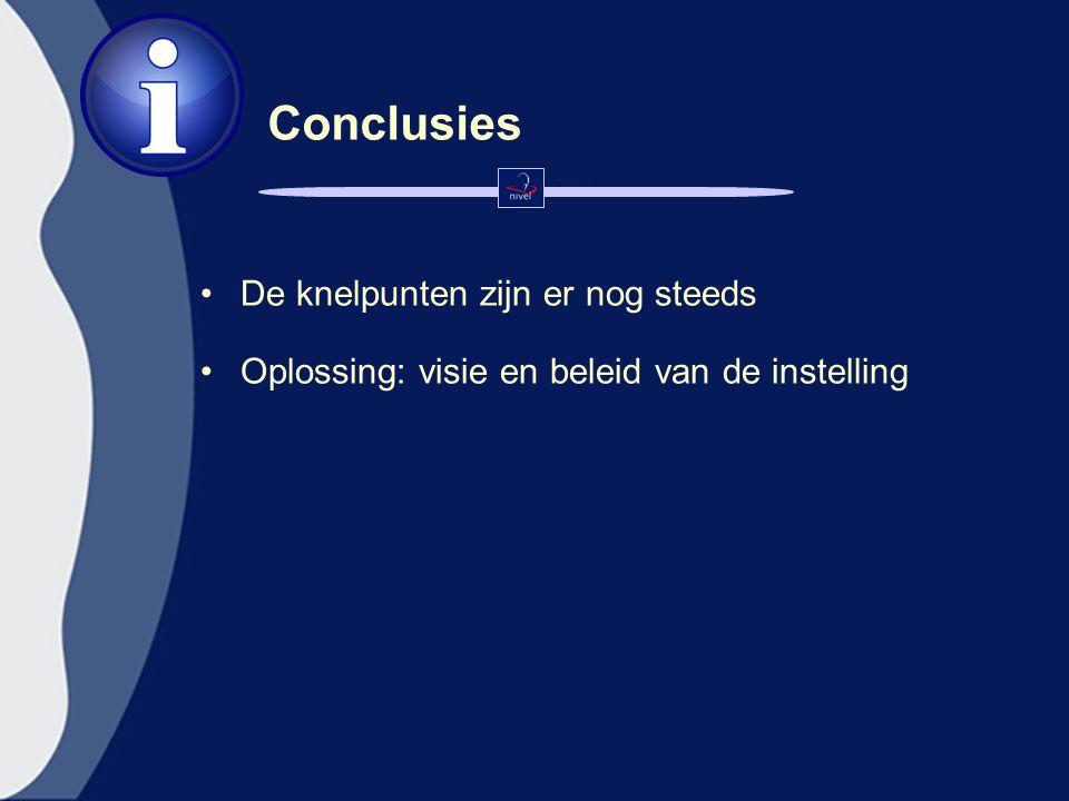 Conclusies De knelpunten zijn er nog steeds Oplossing: visie en beleid van de instelling