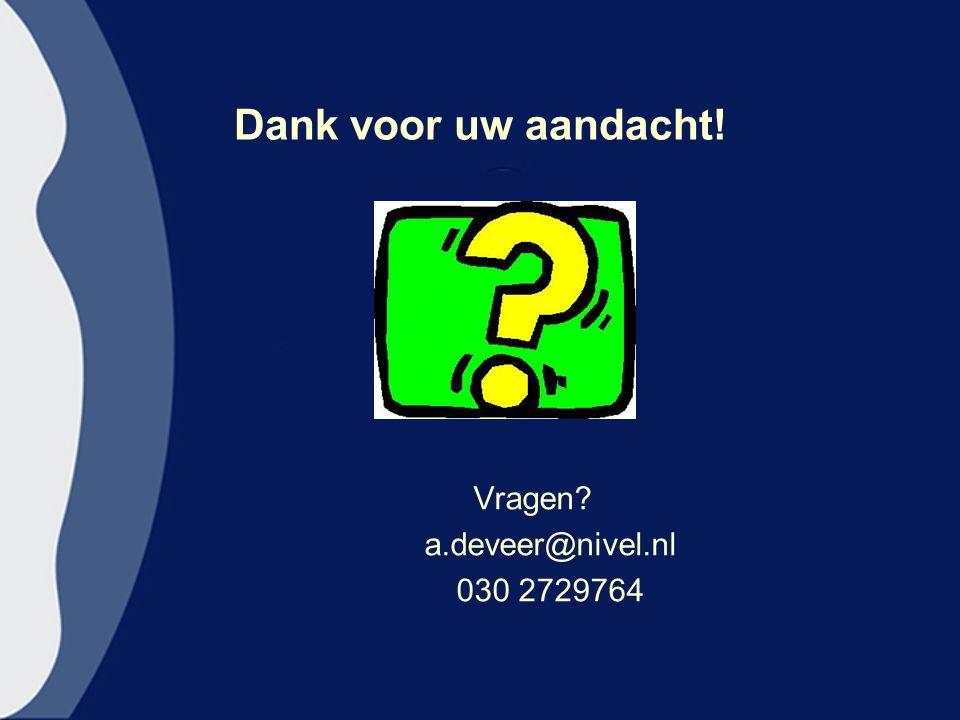 Dank voor uw aandacht! Vragen a.deveer@nivel.nl 030 2729764