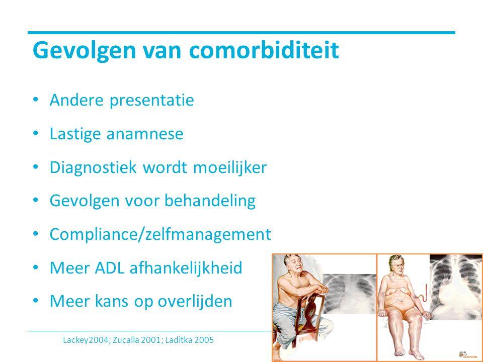 Gevolgen van comorbiditeit Andere presentatie Lastige anamnese Diagnostiek wordt moeilijker Gevolgen voor behandeling Compliance/zelfmanagement Meer A