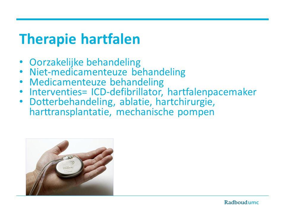 Therapie hartfalen Oorzakelijke behandeling Niet-medicamenteuze behandeling Medicamenteuze behandeling Interventies= ICD-defibrillator, hartfalenpacem