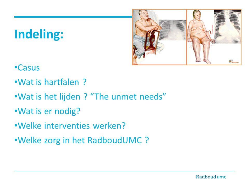 """Indeling: Casus Wat is hartfalen ? Wat is het lijden ? """"The unmet needs"""" Wat is er nodig? Welke interventies werken? Welke zorg in het RadboudUMC ?"""