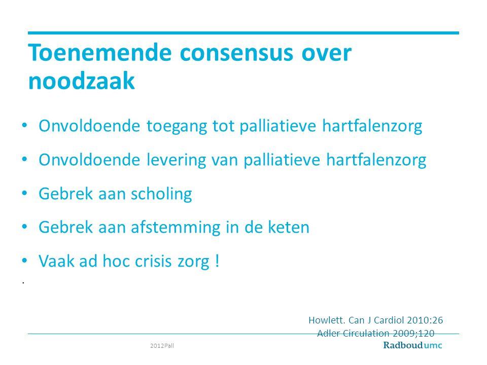 Toenemende consensus over noodzaak Onvoldoende toegang tot palliatieve hartfalenzorg Onvoldoende levering van palliatieve hartfalenzorg Gebrek aan sch