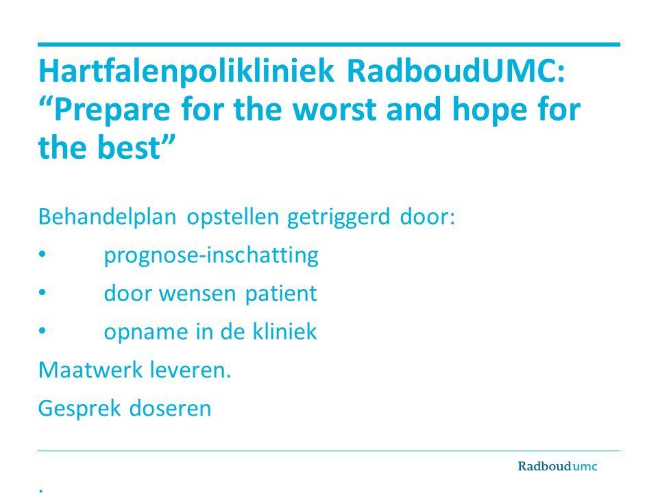 Hartfalenpolikliniek RadboudUMC: Prepare for the worst and hope for the best Behandelplan opstellen getriggerd door: prognose-inschatting door wensen patient opname in de kliniek Maatwerk leveren.