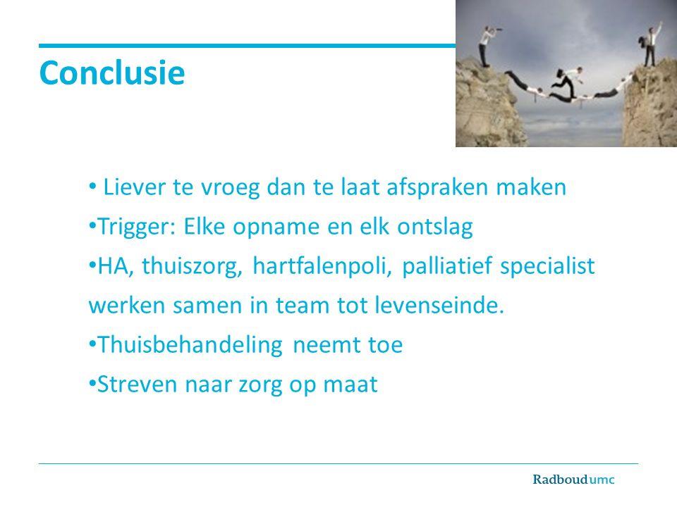 Conclusie Liever te vroeg dan te laat afspraken maken Trigger: Elke opname en elk ontslag HA, thuiszorg, hartfalenpoli, palliatief specialist werken samen in team tot levenseinde.