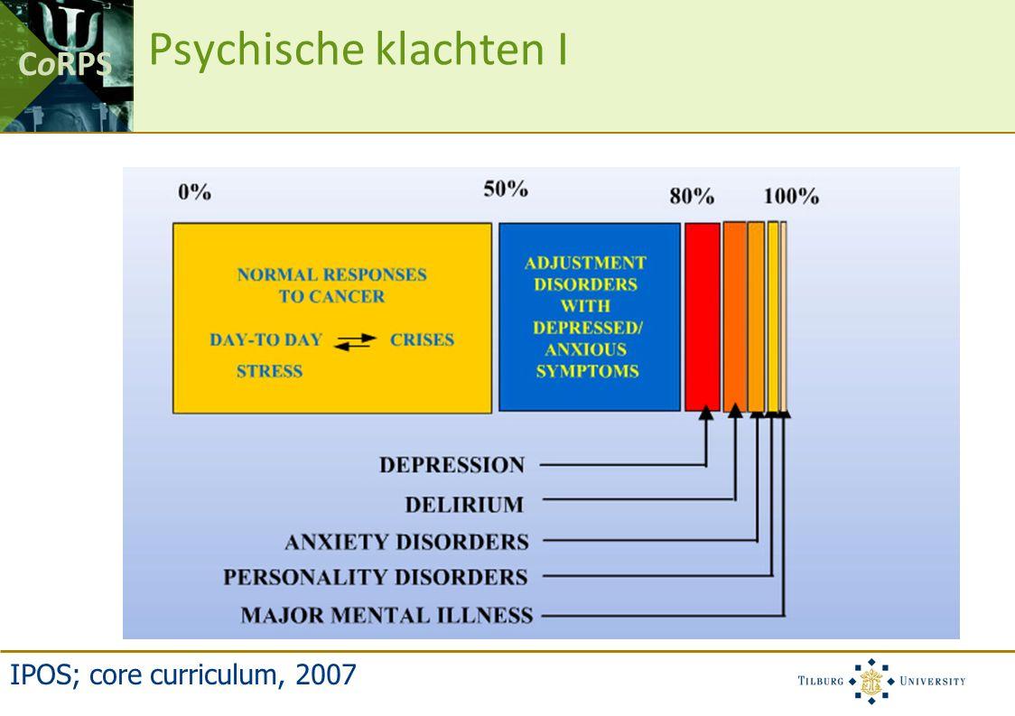 CoRPS Psychische klachten II Voor de diagnose: –Onzekerheid (onverklaarbare klachten) –Spanning (misschien ziek, bevolkingsonderzoek) –Pas laat naar de dokter vanwege angst.