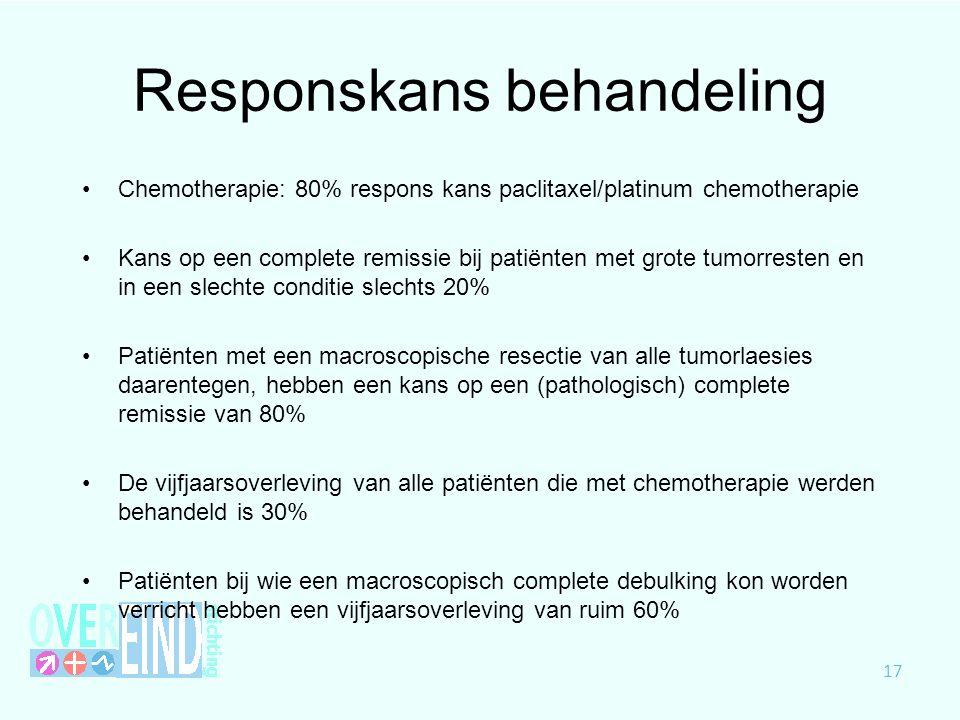 Responskans behandeling Chemotherapie: 80% respons kans paclitaxel/platinum chemotherapie Kans op een complete remissie bij patiënten met grote tumorr