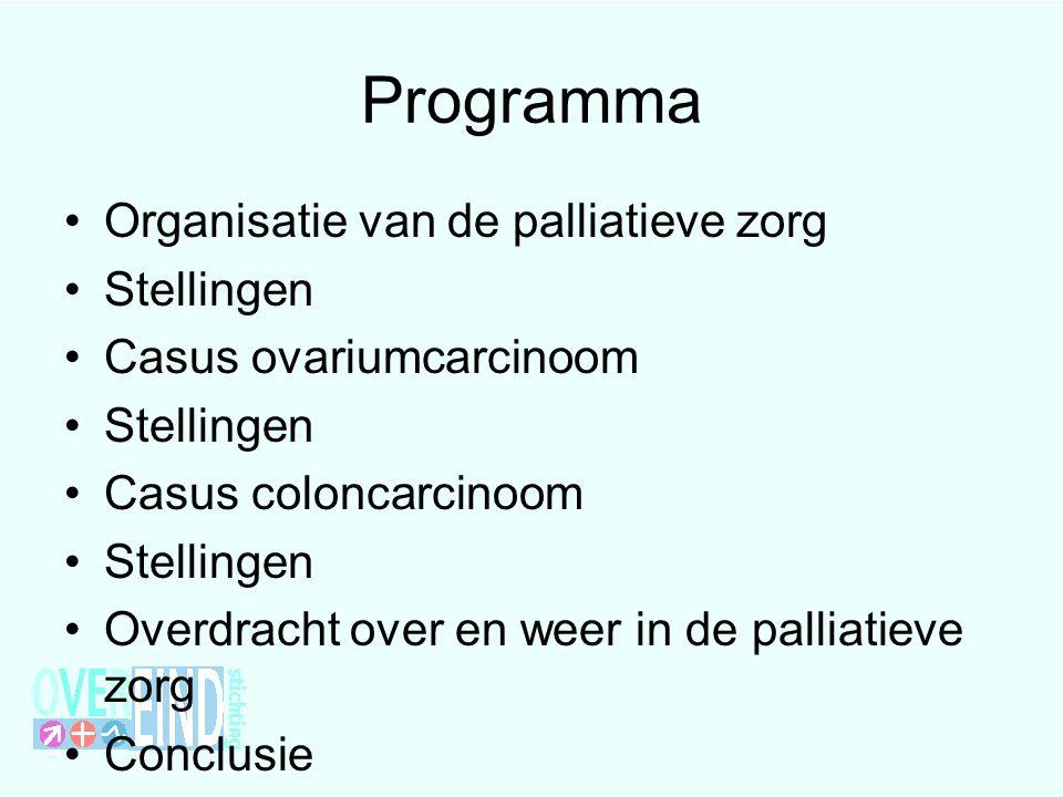Programma Organisatie van de palliatieve zorg Stellingen Casus ovariumcarcinoom Stellingen Casus coloncarcinoom Stellingen Overdracht over en weer in